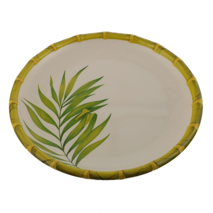 Bamboo Palm Leaf Dinner Plate Leaf Food Grade Melamine Plates in Green & White Colour by Living Essence