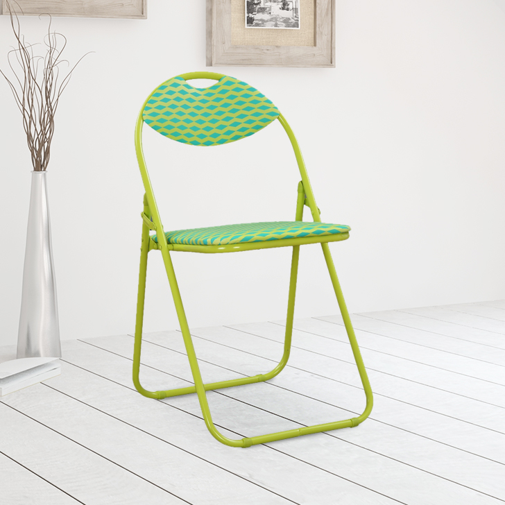 Elena Metal & Leatherette Folding Chair in Green Colour By HomeTown