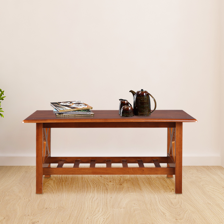 Aldrich Solid Wood Center Table in Dirty Oak Colour by HomeTown