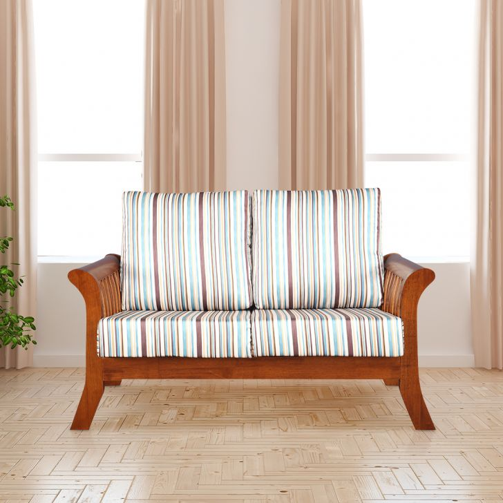 Aubrey Solid Wood Two Seater Sofa With Cushion in Stripes Colour by HomeTown