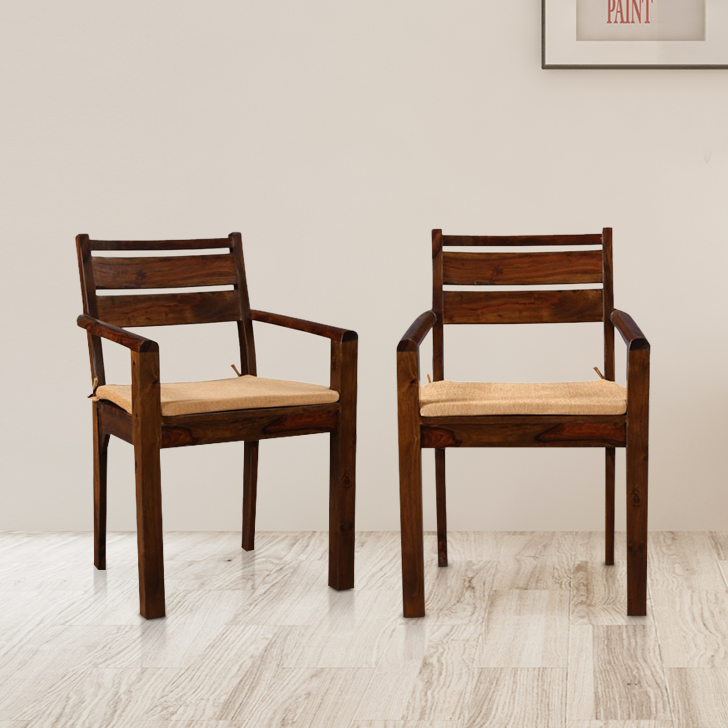 Java Solid Wood Dining Chair With Arm Rest in Light Brown Colour by HomeTown