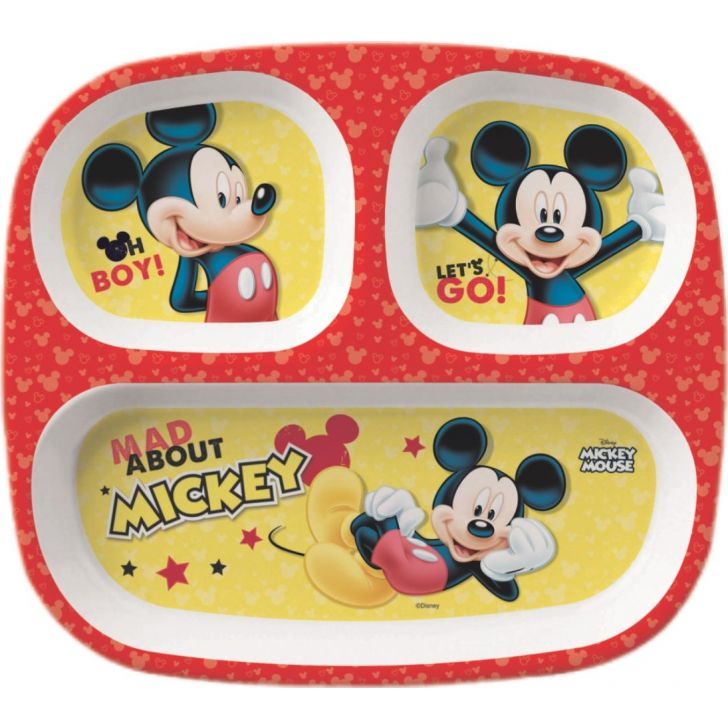 Mickey Melamine Kids Rectangular 3 Partition Plate in Multi Colour by Servewell