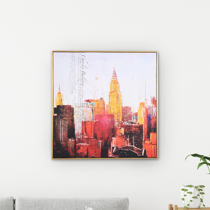 Hayden City Center 58*58Cm Painting Canvas Paintings in MULTICOLOUR Colour by Living Essence