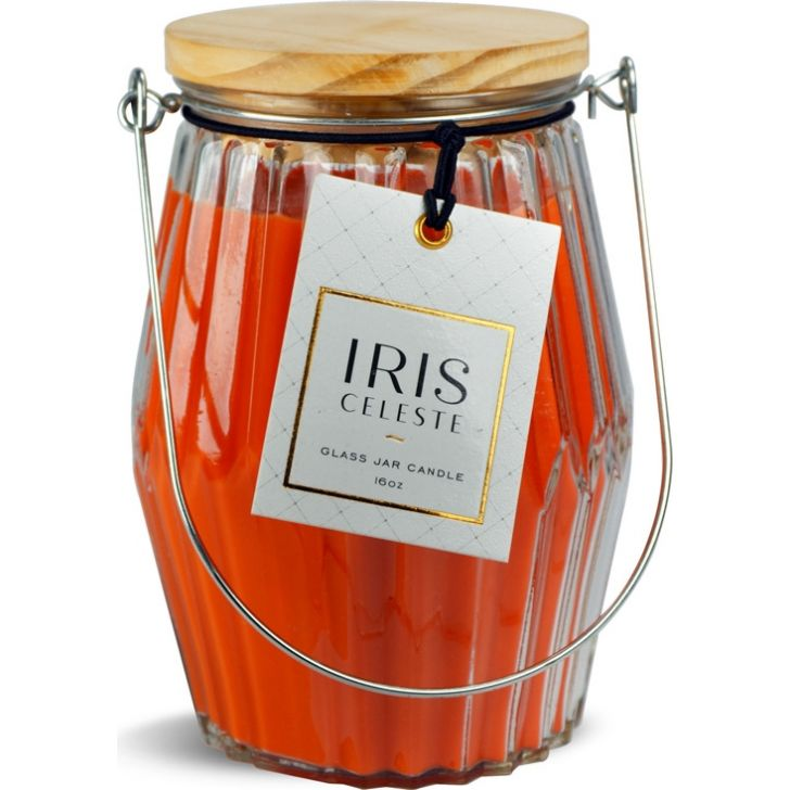 Celeste Candle Jar With Lid in Tangerine Colour
