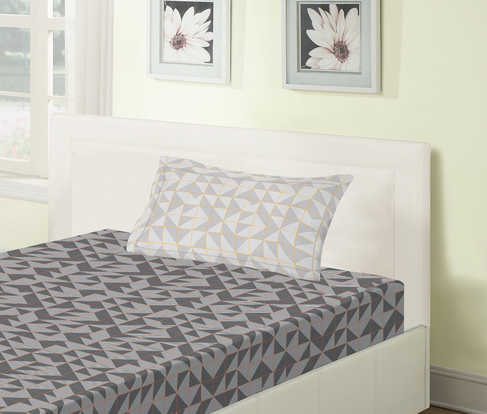 Emilia Cotton Single Bedsheets in Charcoal Colour by Living Essence