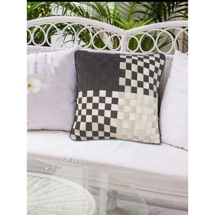 Modern Basket Polyester Cushion Covers in Black Grey Colour by Living Essence