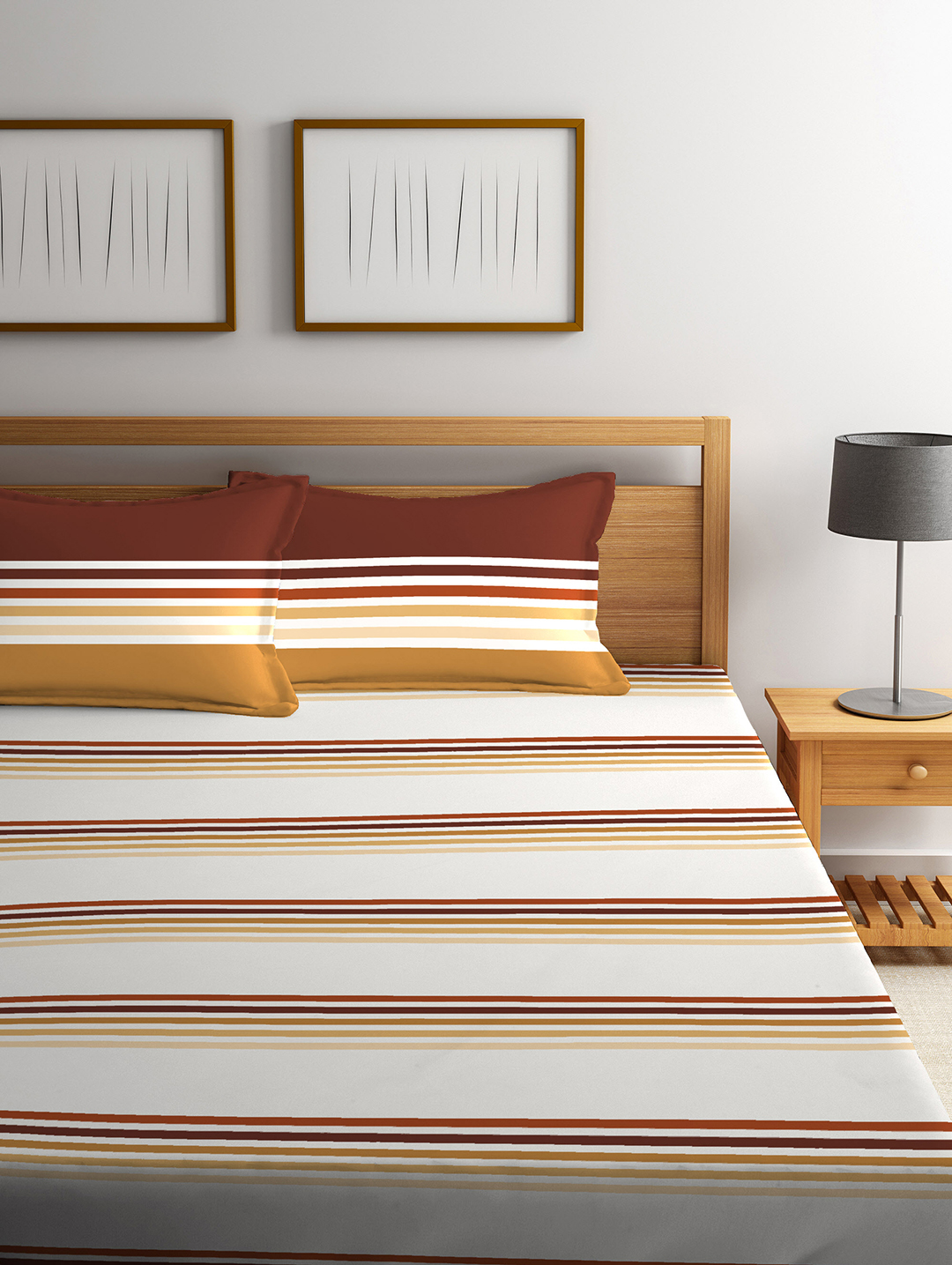 King Bedsheet French Gold Cotton King Bed Sheets in White, Beige Colour by Tangerine