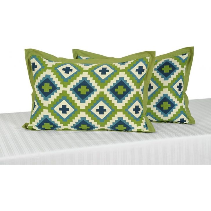 Solid Single Pillow Cover In Light Green Color By Swayam