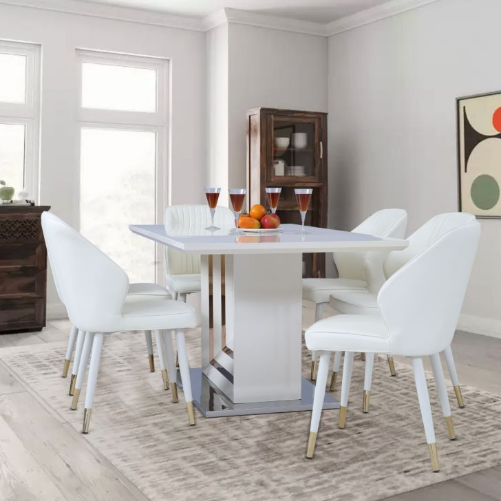 Stellar Engineered Wood Six Seater Dining Set in White Color by HomeTown