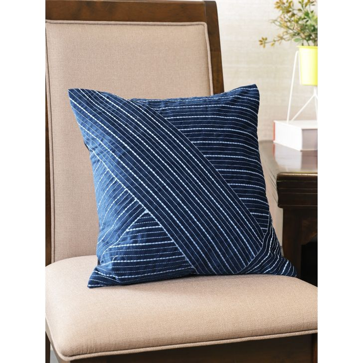 Milan  Cushion Cover 16X16 CM in Navy Colour by Living Essence