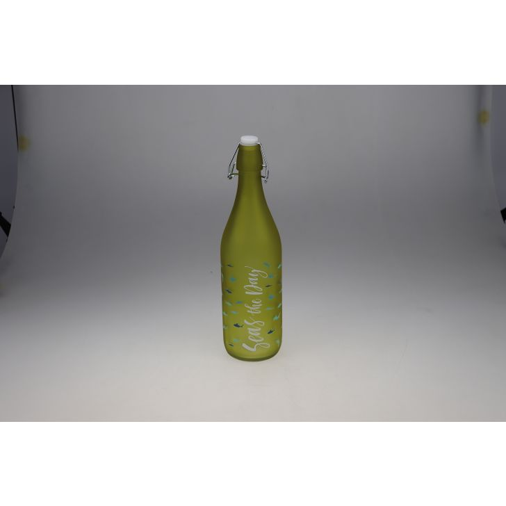 Bahamas Glass Green Frosted Bottle 1L in Green Colour by Living Essence