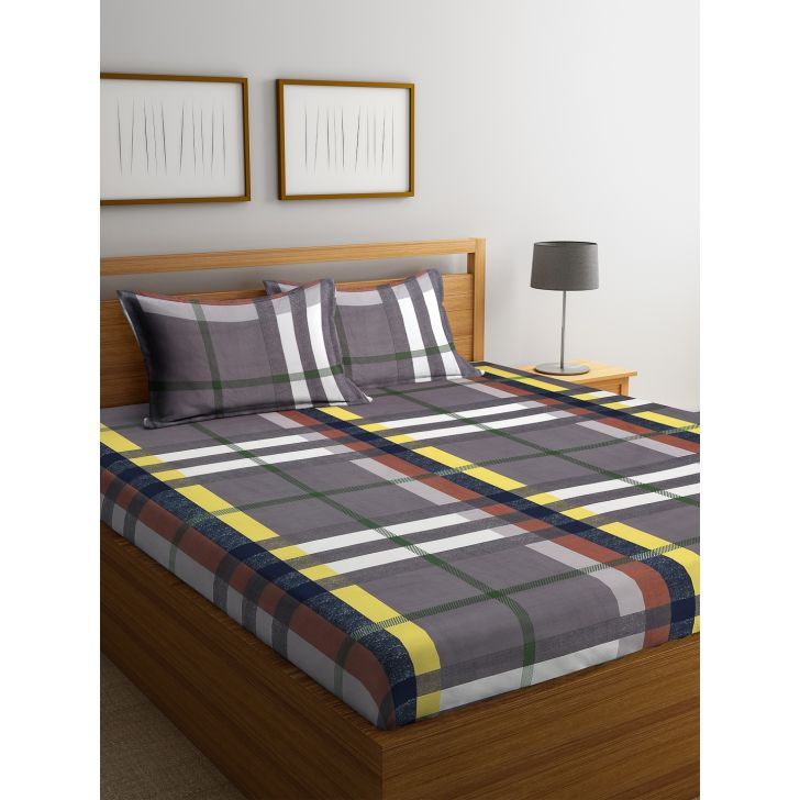 Carnival Double Bedsheet 220 x 230 CM in Brown Colour