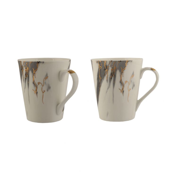 Sk Slate 2Pc Milk Mug Ceramic Coffee Mugs in White Colour by Sanjeev Kapoor