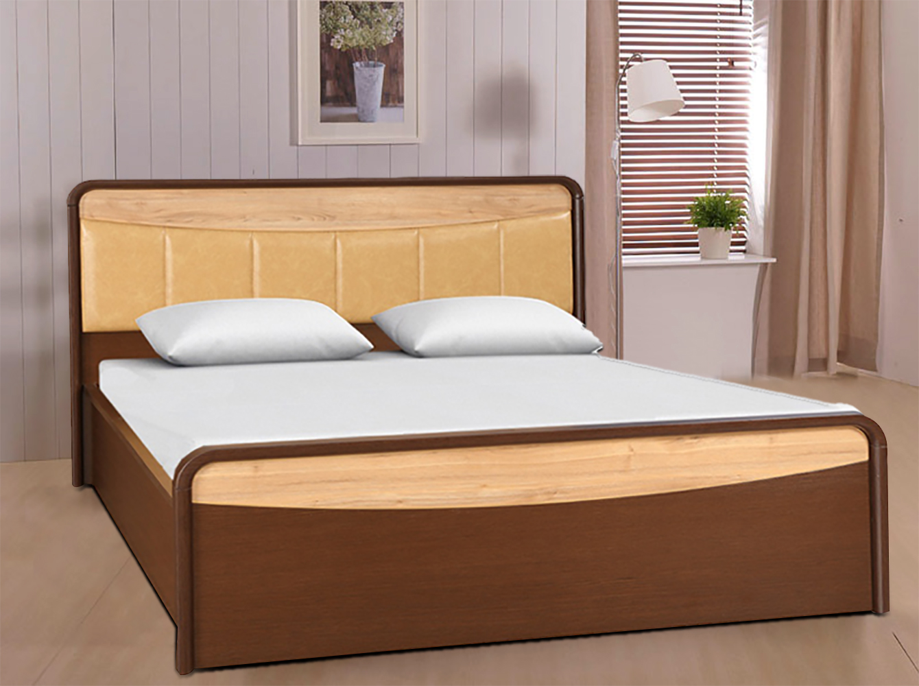 Bethovan Engineered Wood Hydraulic Storage Queen Size Bed in Light And Dark Walnut Colour by HomeTown