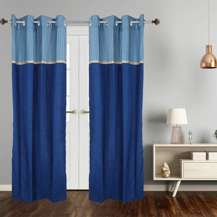 Motif Polyester Door Curtain in Blue Colour by Dreamline