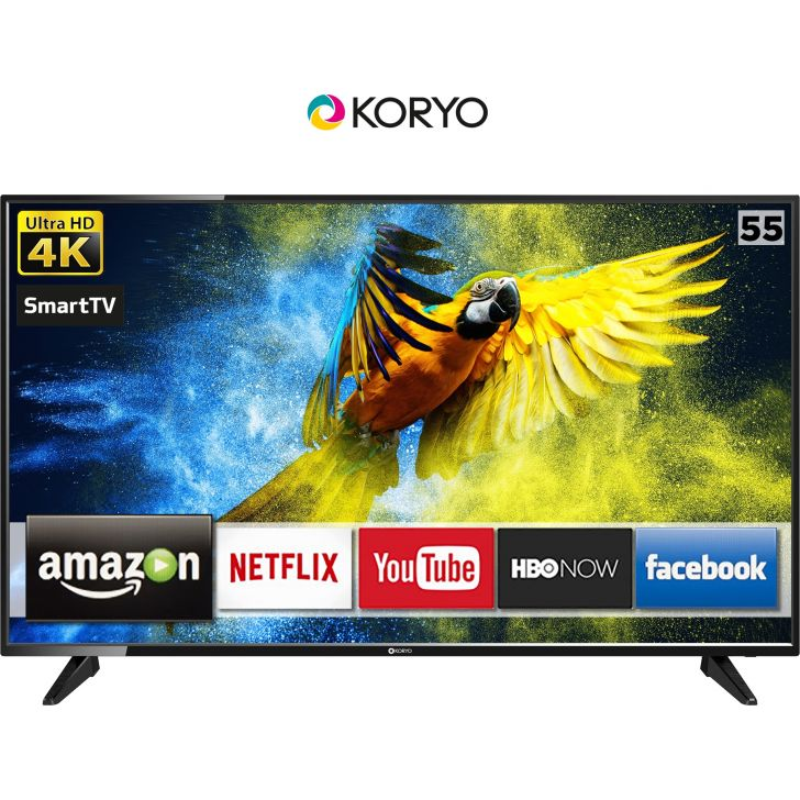 Koryo 139.7cm (55 inch) Ultra HD (4K) Smart LED TV KLE55EXVJ91UHD in Black Colour by Koryo