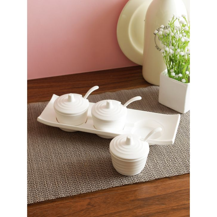 Ora Melamine Brio Condiment Spice Set in White Colour by Servewell