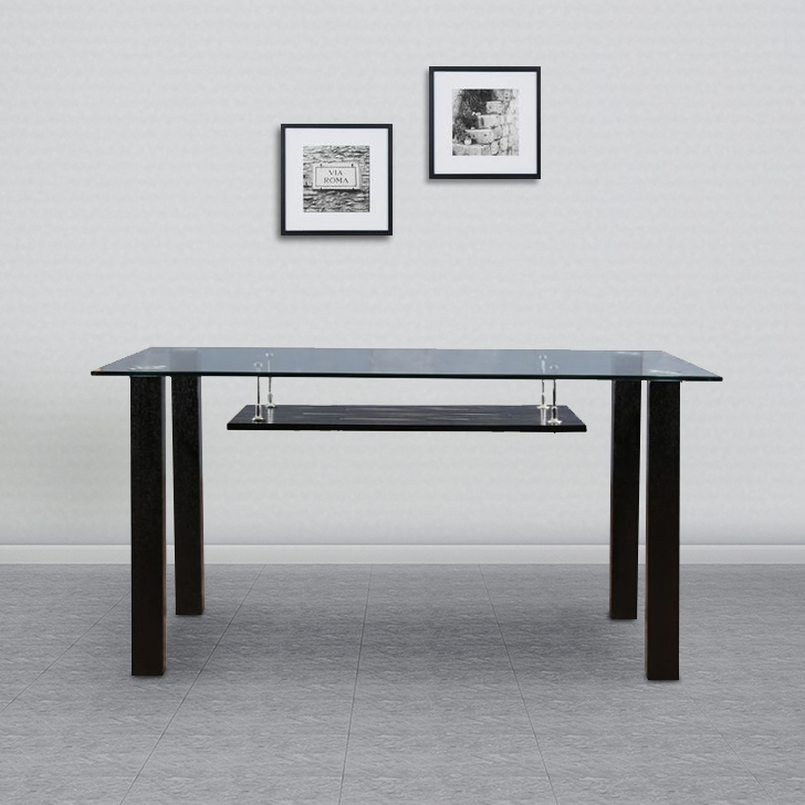 Presto Metal Six Seater Dining Table in Black Colour by HomeTown