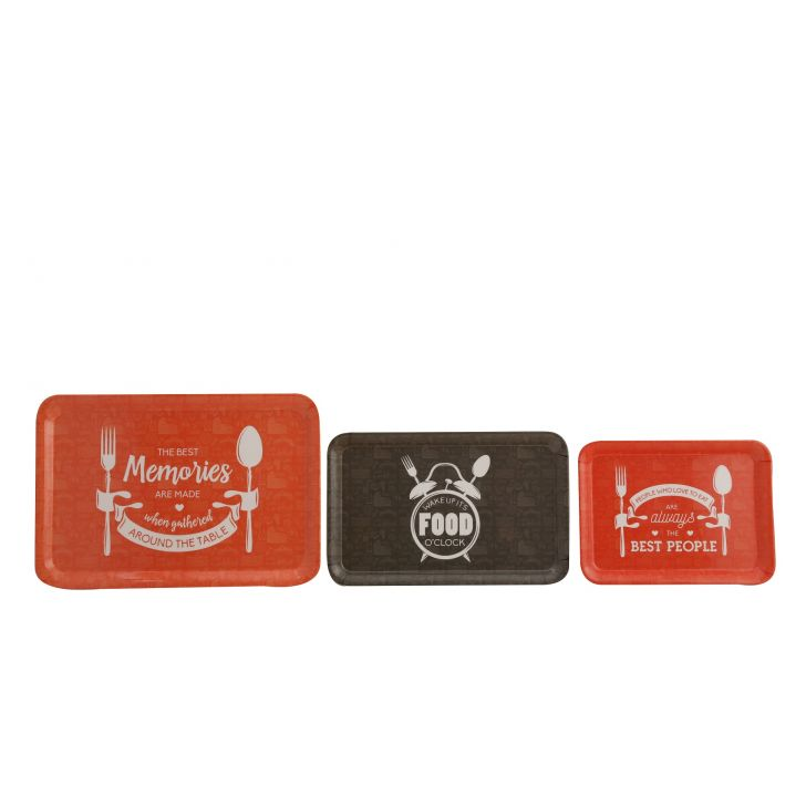 Foodaholic Trays Set Of Food Grade Melamine Trays in Grey & Orange Colour by HomeTown