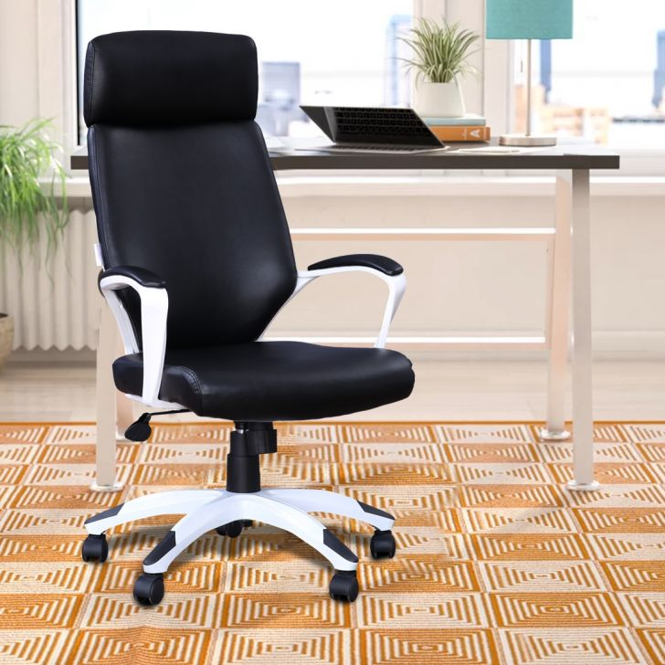 Bentley Leatherette High Back Office Chair in Black & White Colour by HomeTown