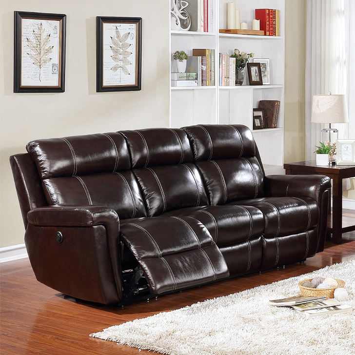 Gatwick Half Leather Three Seater Electric Recliner in Dark Brown Colour by HomeTown