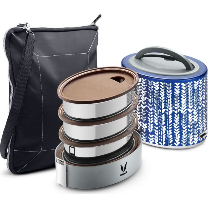 Vaya Tyffyn 1000 Ml With Bagmat - 3 Stainless Steel Containers, Indigo