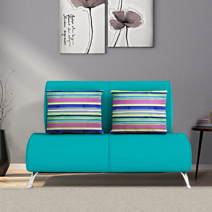 Tripoli Fabric Two Seater Sofa in Teal Colour by HomeTown