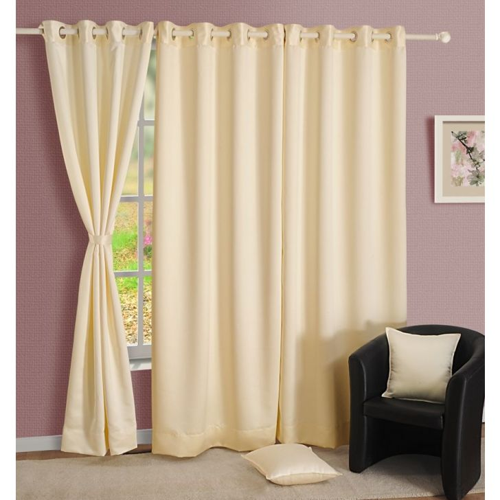 Solid Blackout Window Curtain In Ivory Color By Swayam