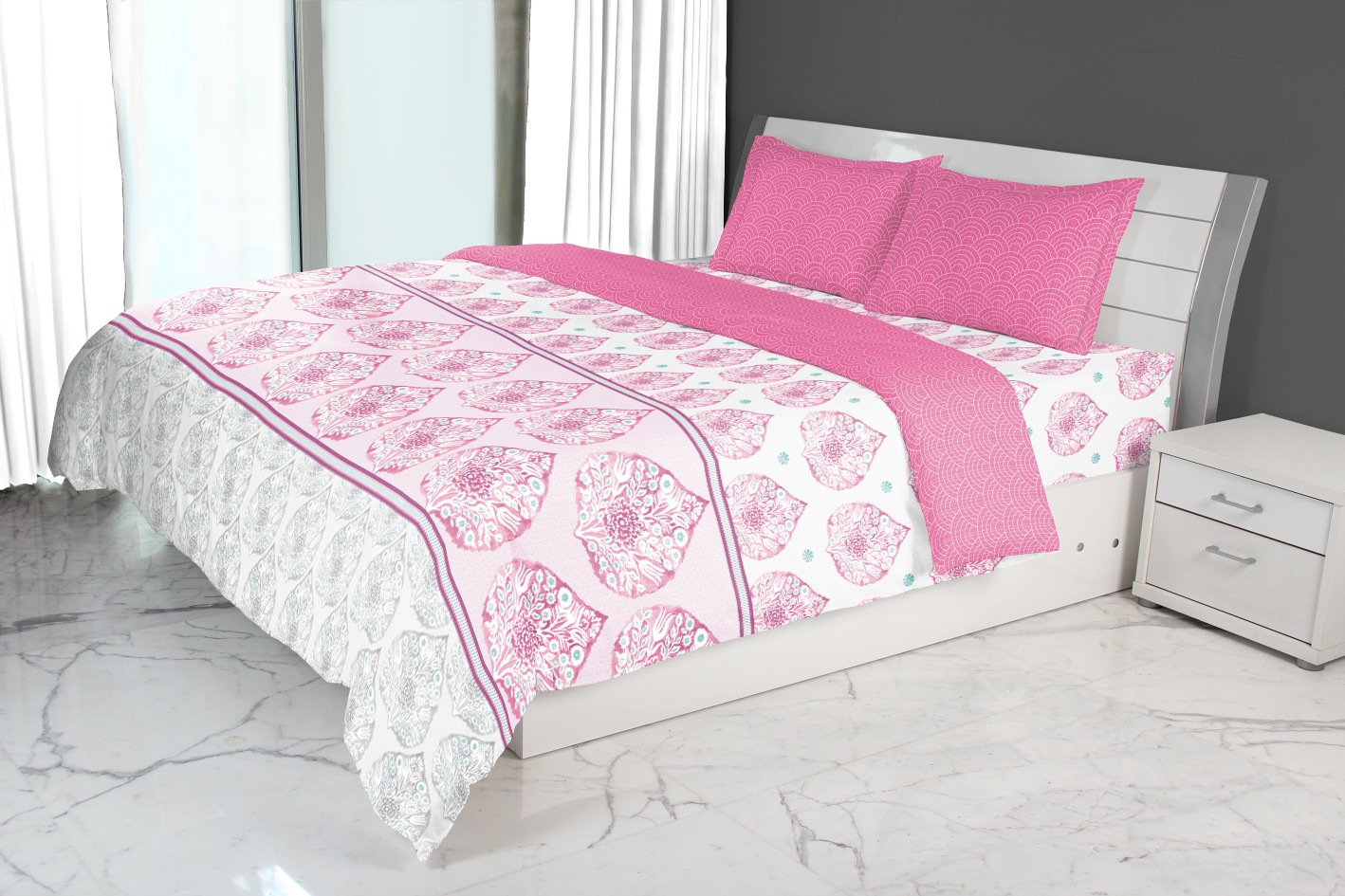 Nora Peepal Printed Double Comforter Rose Comforters in Rose Colour by Living Essence