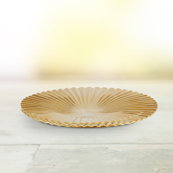 Blake Crinkle Vase Platter Small Ceramic Table D in Gold Colour by Living Essence