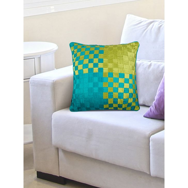 Tropical Safari Basket Polyester Cushion Covers in Green Teal Colour by Living Essence