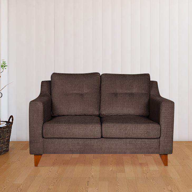 Ravioli Fabric Two Seater Sofa in Brown Colour by HomeTown