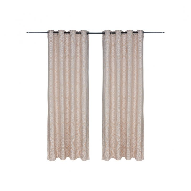 Fiesta Jacquard Polyester Door Curtains in Beige Colour by Living Essence