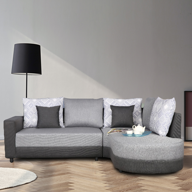 Marcelo Fabric Lounger in Grey & Black Colour by HomeTown