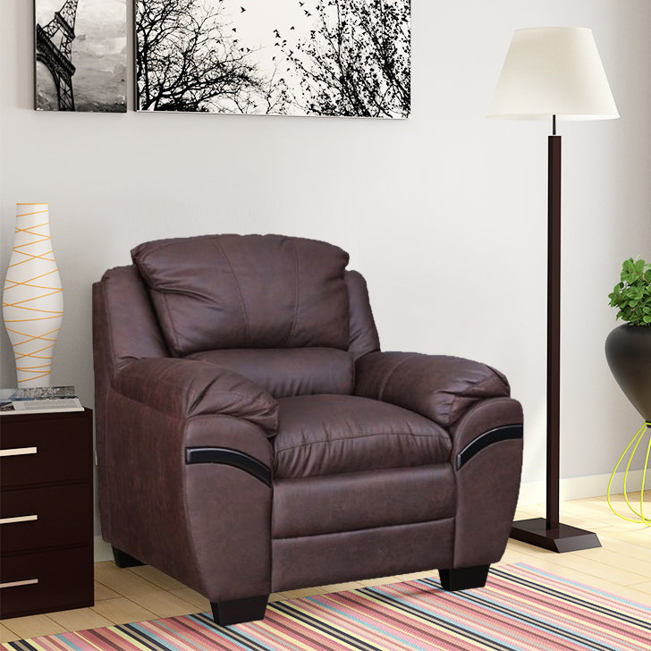 Eleanor Fabric Single Seater sofa in Dark Brown Colour by HomeTown