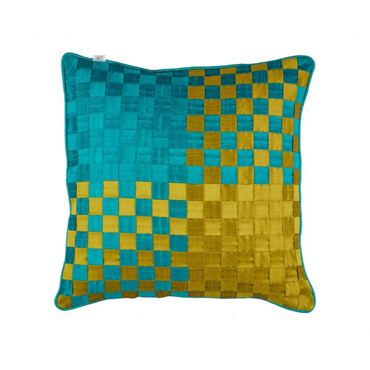 Basket Cushion Cover Green Polyester Cushion Covers in Green Colour by Living Essence