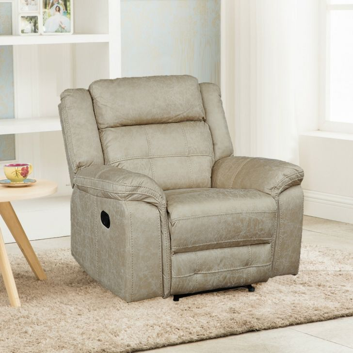 Zurich Fabric Single Seater Recliner in Beige Colour by HomeTown