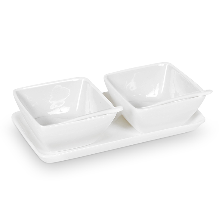 Living Essence Two Bowls in Tray With Spoons White