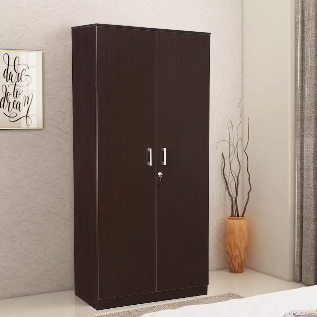 Prime Engineered Wood Two Door Wardrobe in Wenge Colour by HomeTown