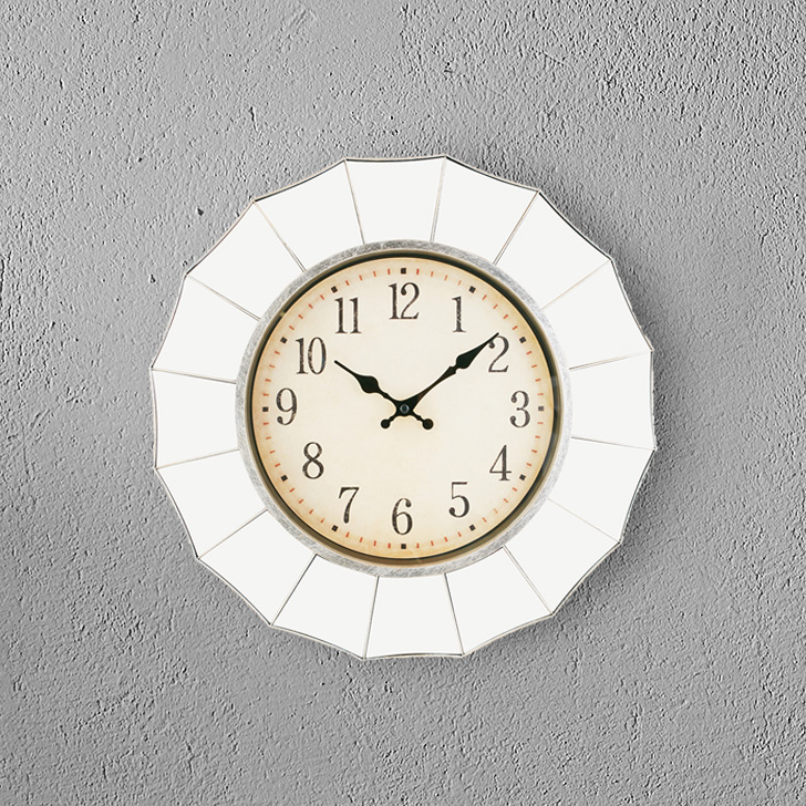 Aristo Mirror Border Plastic Classic Clocks in Shiny Silver Colour by Living Essence