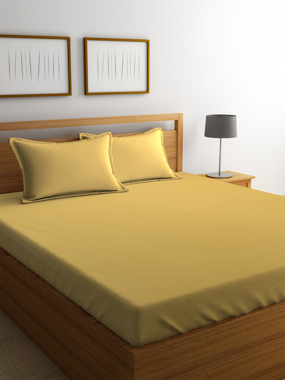 Portico Percale Cotton Double Bed Sheets in Gold Colour by Portico