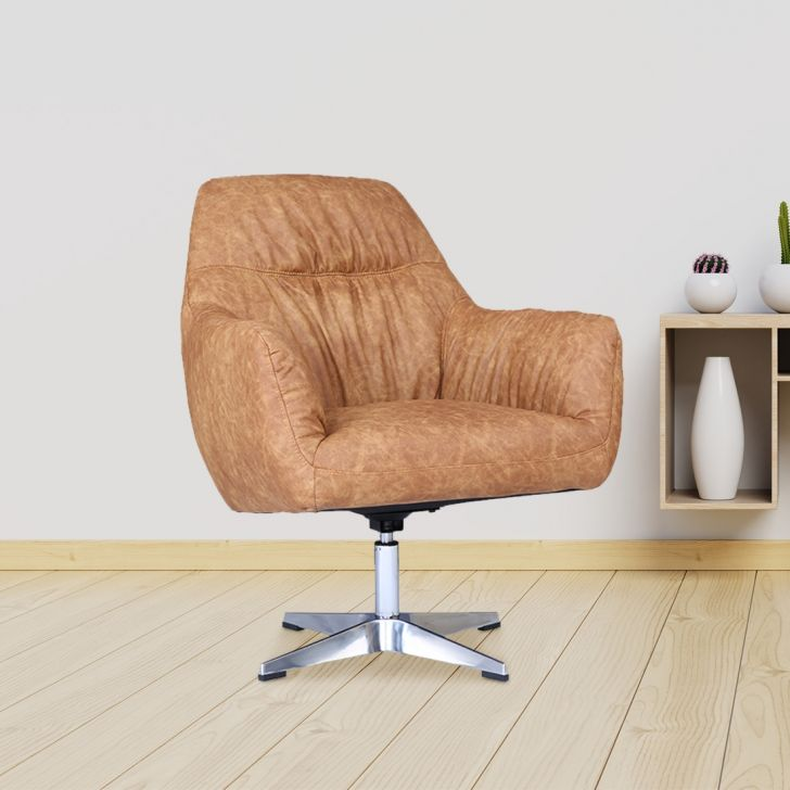 Modena Solid Wood Accent Chair in Grey & Orange Colour by HomeTown