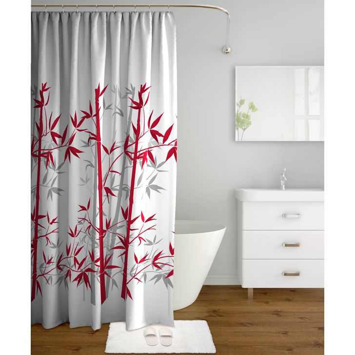Tangerine Polyester Shower Curtain With Hooks Red And Grey