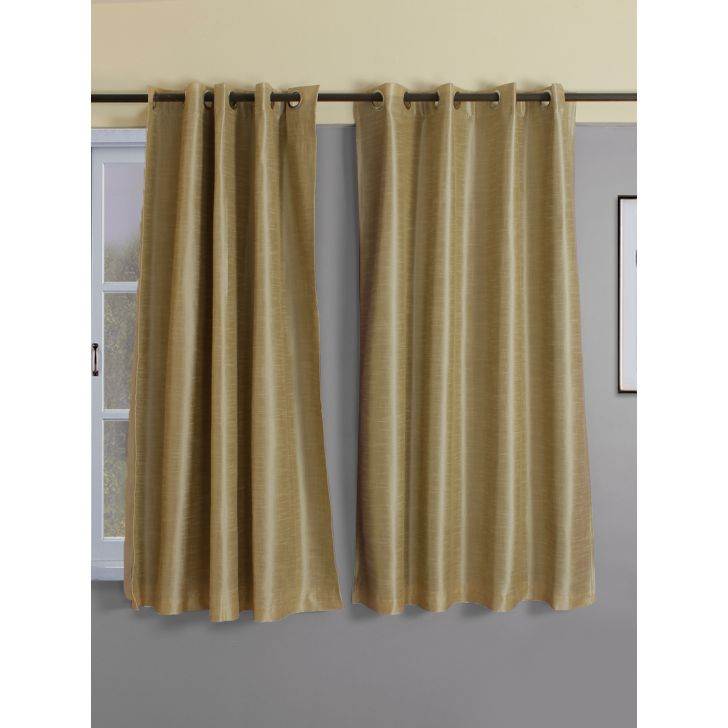 Emilia Solid  Set Of 2 Blackout Window Curtain 120X160 CM in Off White Colour by Living Essence