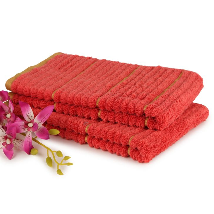 Spaces Exotica Cinnabar And Amber Cotton Hand Towel Set Of 2