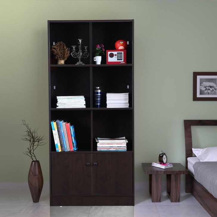 Crony Engineered Wood Large Book Shelf in Wenge Colour by HomeTown