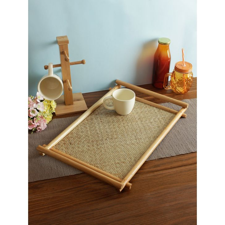 Wood Tray in Brown Colour by Living Essence