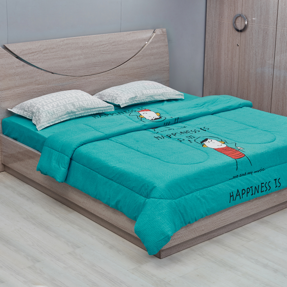 Happiness Double Comforter Teal Cotton Comforters in Teal Colour by Portico
