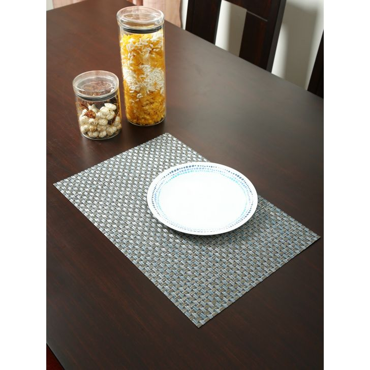 Bianca PVC Mat Set Of 6 in Silver Colour by Bianca