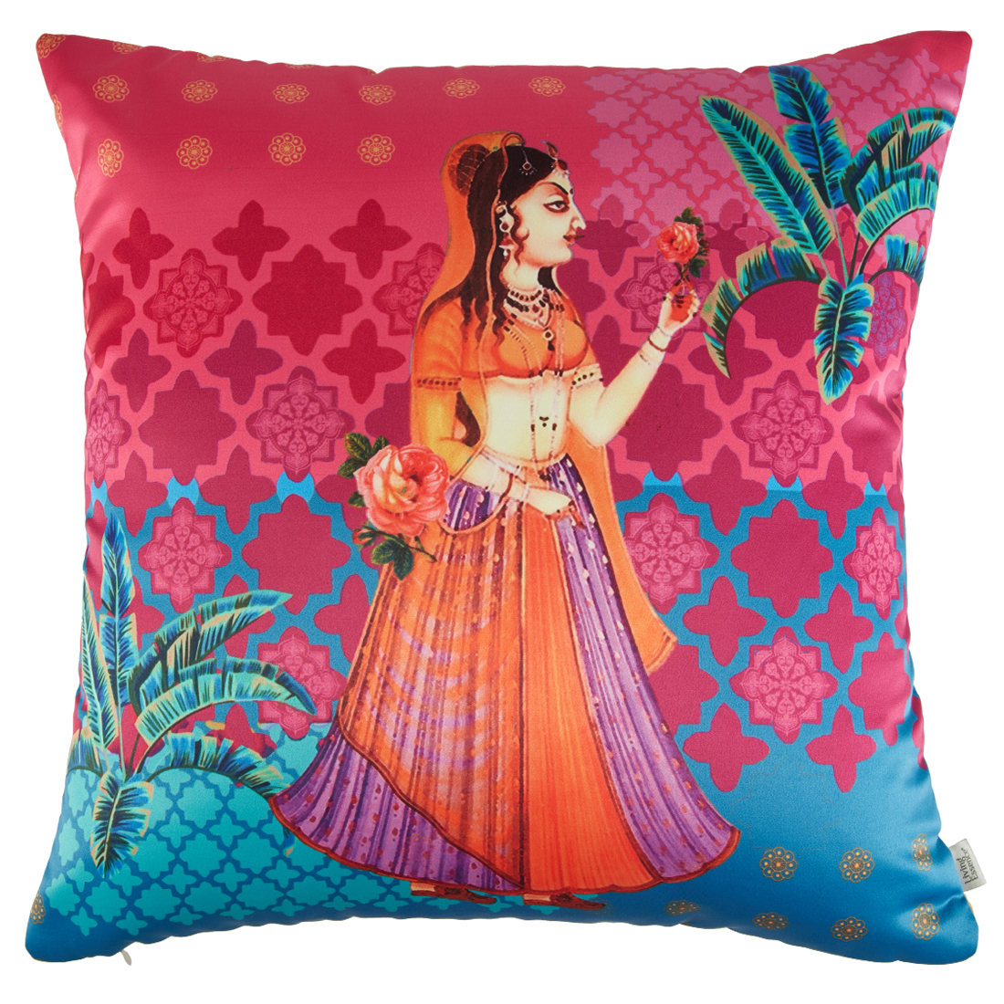 Digital Cushion Cover Rani Cushion Covers in Poly Satin Colour by Living Essence